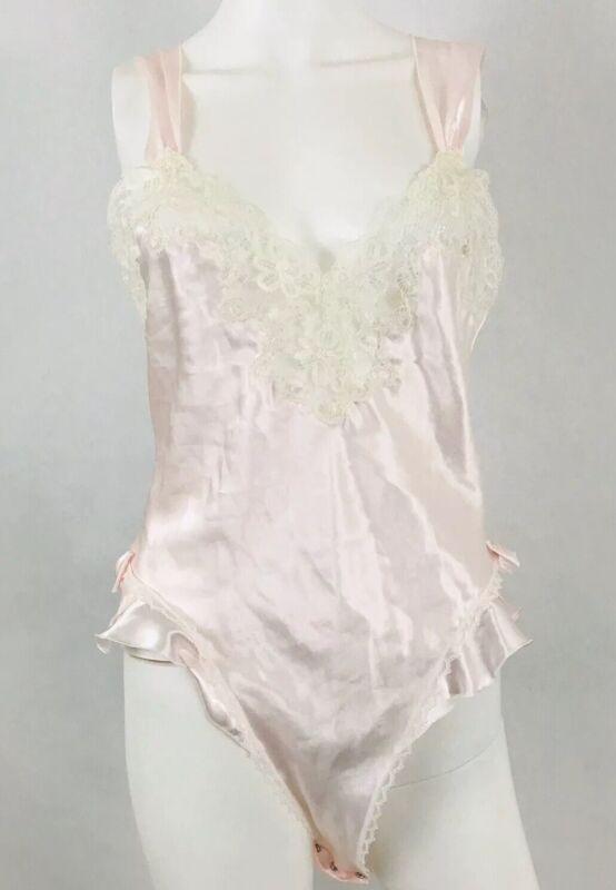 Christian Dior Vintage Teddy Lace Romper Flutter High Leg Shiny Pink Lingerie