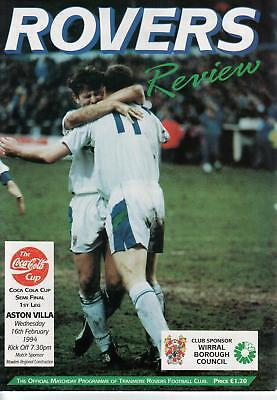 Tranmere Rovers FC Home Programme (1993/94) v Aston Villa + 2 x Ticket Stubs