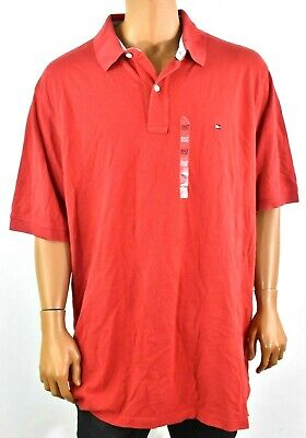 Tommy Hilfiger Mens Polo Shirt New 3XLT Solid Red Short Sleeve Logo Collared