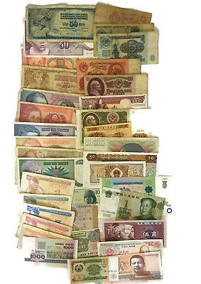 Lot 36 Different Banknotes 15 Countries Old & UNC Foreign Worlwide Currency