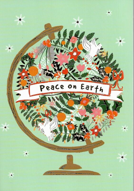 PEACE ON EARTH MINI CHRISTMAS CARD by PETER PAUPER PRESS DECORATED ENVELOPE (4)