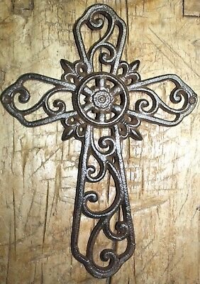 Cast Iron VICTORIAN Style IVY Scroll Wall Cross Rustic Decorative Finish -