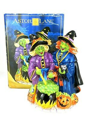 Astor Lane Halloween Witches Ceramic Cookie Jar Witch Holding Cat Holiday Decor