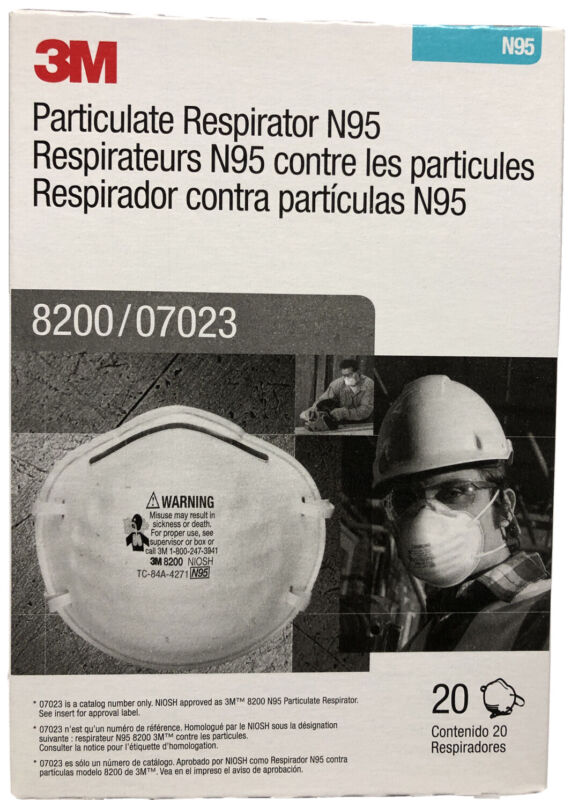 3M 8200 N95 Protective Disposable Face Mask Cover NIOSH Respirator 20 PACK NEW
