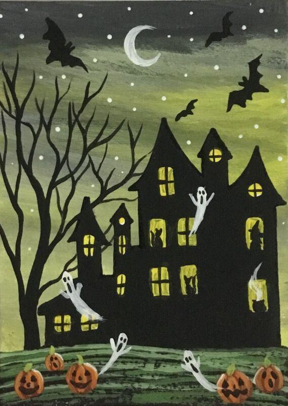ACEO Original Halloween Mini Acrylic Sketch Card Witch house ghost bat  pumpkins