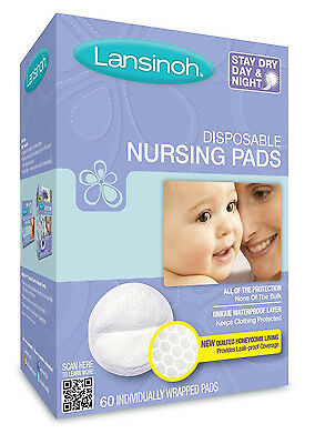 Lansinoh Breast Pads 60 Disposable Nursing Pad Maternity Breastfeeding Mothers