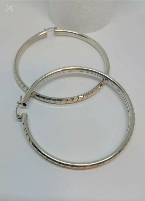 """Taxco Mexican 925 Sterling Silver 2¼"""" Hoops / FREE SHIPPING"""