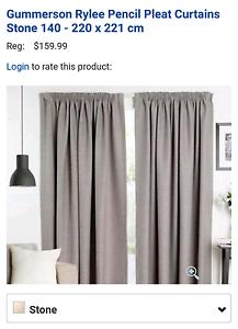 Pencil pleat curtains 140-220x221cm Stone colour Rylee design Applecross Melville Area Preview