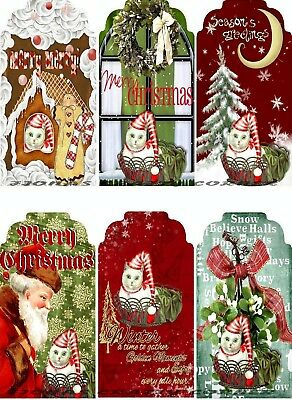 12 CHRISTMAS CAT SANTA SNOW WINDOW HANG / GIFT TAGS FOR SCRAPBOOK PAGES (Santa Gift Tags)