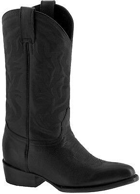 Mens Black Plain Grain Leather Classic Western Cowboy Boots