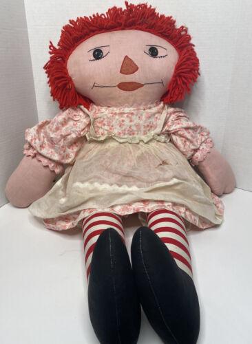 "LARGE 34"" Raggedy Ann Doll ""I Love You"" Heart Stitching Rare Vintage Handmade"