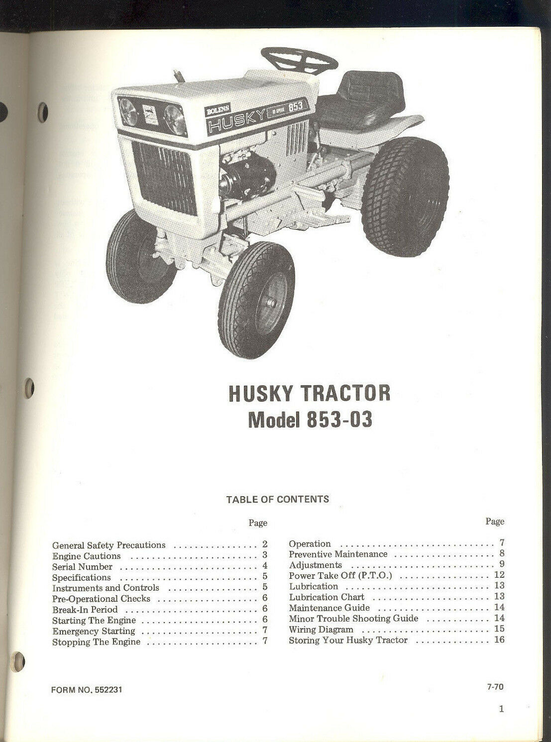 wiring diagram bolens 1220 wiring library 1 of 3 1970 bolens husky tractor model 853 03 owners operators maintenance manual