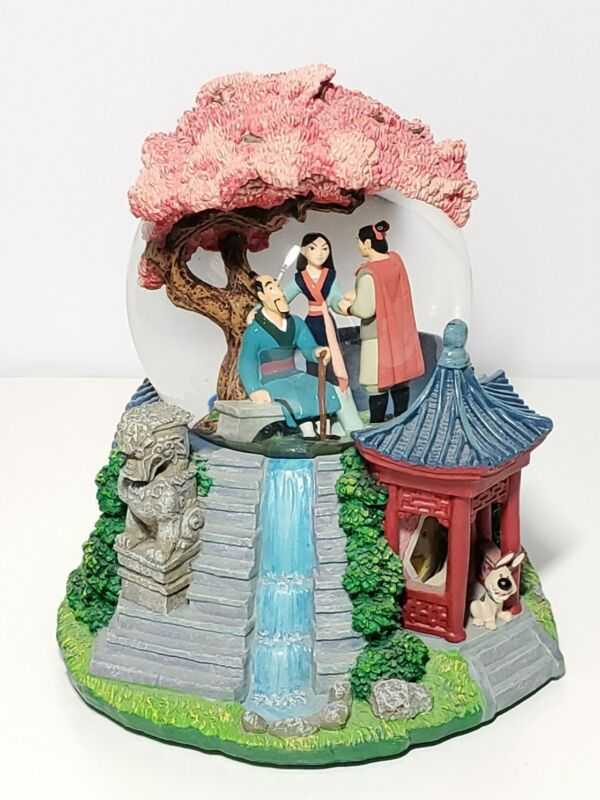 Disney Classic Snowglobe Globel Mulan Reflection Music Box Rare