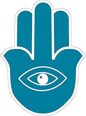 """HAMESH HAMSA HAND AMULET EYE 4"""" X 5.5"""" DIE-CUT BLUE STICKER"""