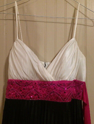 m Black/White/Hot Pink With Belt Gown Maxi Dress Size 5/6 (White Masquerade Dresses)