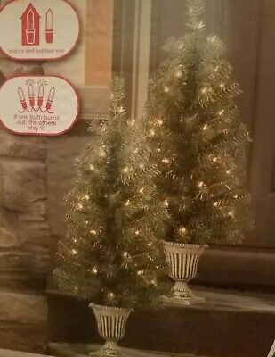 2PK-3' ft CHRISTMAS TREES  PORCH/ENTRY Decoration Holiday Pre-Lit indoor/outdoor ()