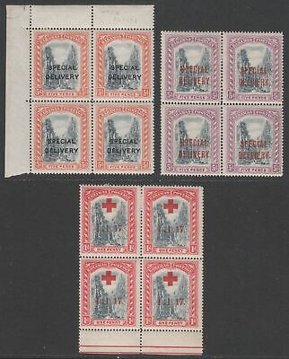 Bahamas 1916-18 KGV Special Delivery 5d + Red Cross 1d Overprint Blocks Mint