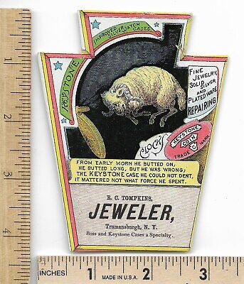 KEYSTONE POCKET WATCH Trade Card Ram Jeweler Trumansburgh NY