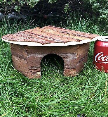 "Dwarf Quail Wooden Corner House 12"" Natural Bark Bantam Poultry Shelter Nest"
