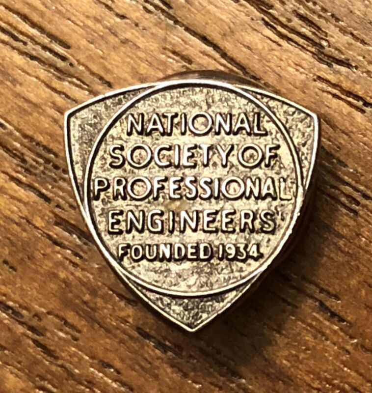 Vintage National Society Of Professional Engineers Sterling Silver Lapel Hat Pin