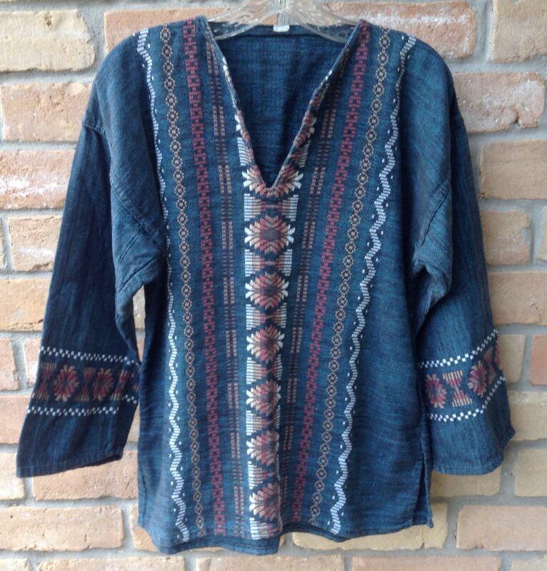 "Vintage Tribal Print Shirt Sz M? 44"" C Pullover Boho Hippy Hipster Costume Party"