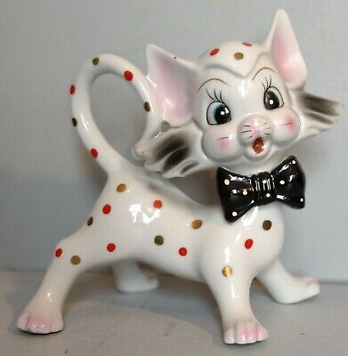 Vintage Arnart Ceramic Cat With Black Bowtie and Polka Dots 6 In. Tall Kitschy