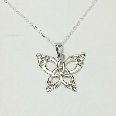 Butterfly Necklace Charm Pendant (Sterling Silver BUTTERFLY Pendant Necklace Celtic Triquetra charm 18