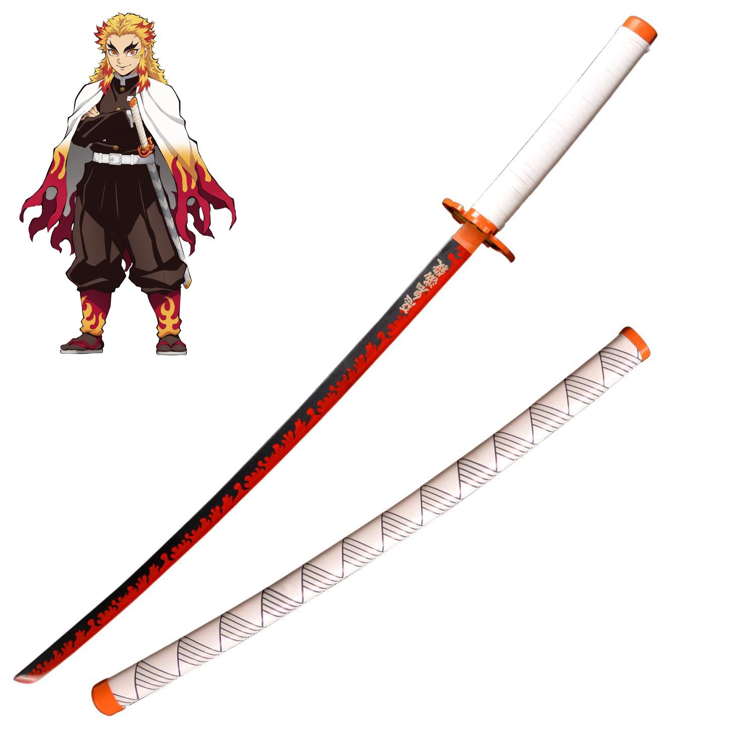 Demon Slayer Handmade Katana Rengoku Kyojuro Steel Sword Kimetsu Yaiba Cosplay