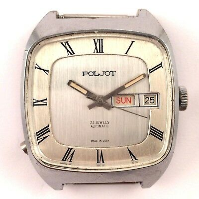 Vintage soviet POLJOT watch Day and Date Square case Made in USSR *IN USA* #1198
