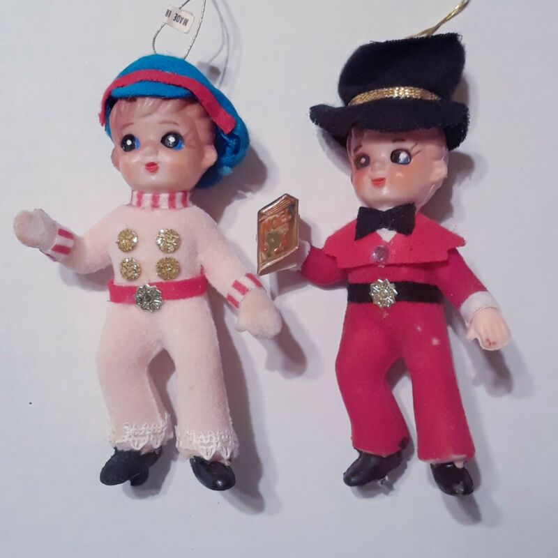 "Vintage Flocked Boy Christmas Ornaments 4"" Tall Set Of 2"