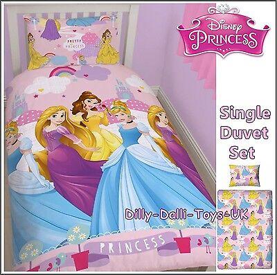 NEW Girls Disney Princess Cinderella Belle Rapunzel Single Bed Duvet Cover Set
