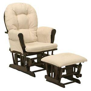 Baby Nursery Bowback Glider Rocker Rocking Chair Espresso Finish With Ottoman