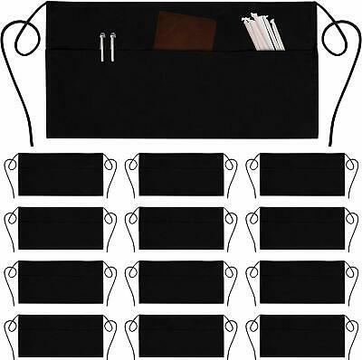 Black Hotdogs Food Server waitress waist apron 3 pocket Restaurant Half Diner