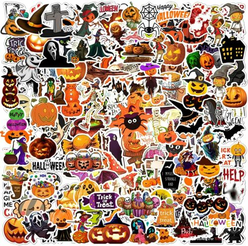 100 Halloween Holiday Stickers Vinyl Decals for Kid Teen Trick Treat Party Gift