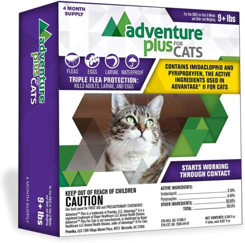 Adventure Plus Triple Flea Protection for Cats, 9 lbs and Over, Cat 4 Month Dose