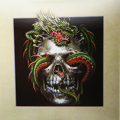 3D Lenticular Poster - Gothic Skull with Dragon Weaving -16 x16 Print