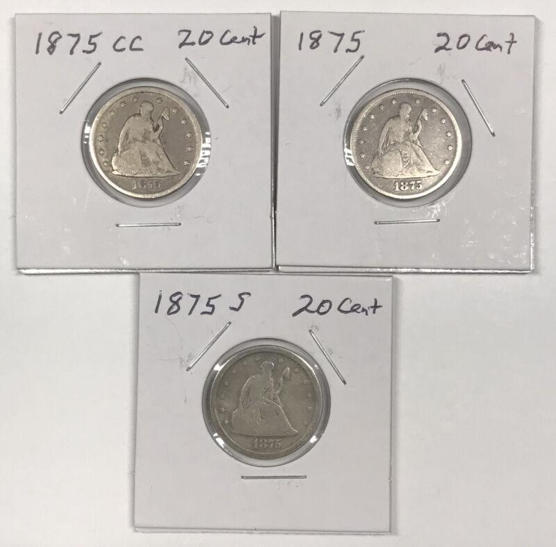 Twenty-Cent Piece Date Set - 1875-CC 1875 1875-S - Fine Condition - 20¢