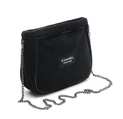 NIP USA Chanel Parfums Black BeauteMakeup VIP Gift Soft W/Chain shoulder Bag