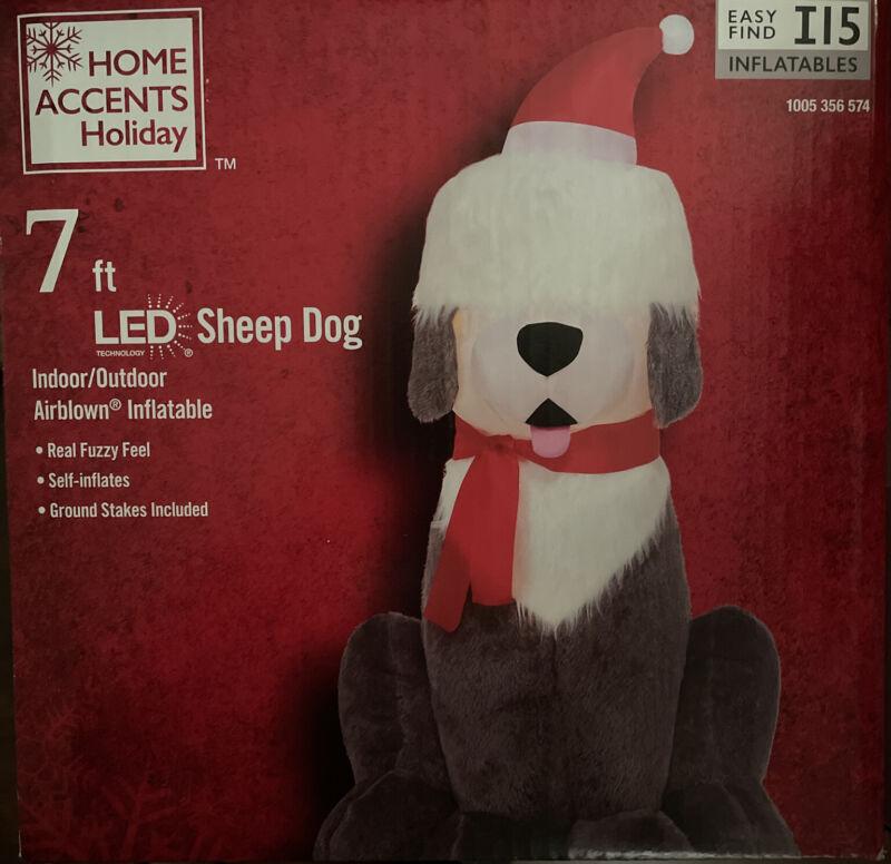 Brand New Self Inflatable Old English Sheepdog Fuzzy Sheep Dog Santa Christmas