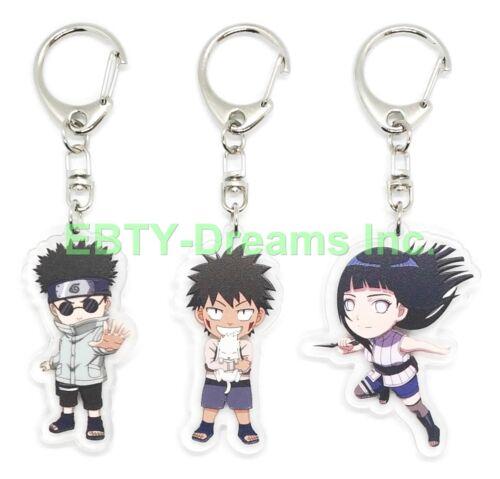 Set of 3 Naruto Anime Acrylic Keychain Shino Aburame, Kiba, Hyuuga Hinata