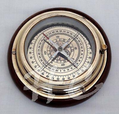 "Antique Brass Magnifying/Navigational/Magnetic 6"" Sailing Ship/Boat Desk Compass"