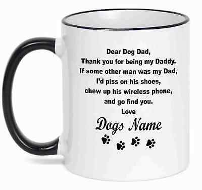 Name Coffee - Personalized Coffee Mug  Dear Dog Dad Funny Mug With Your Dog's  Name