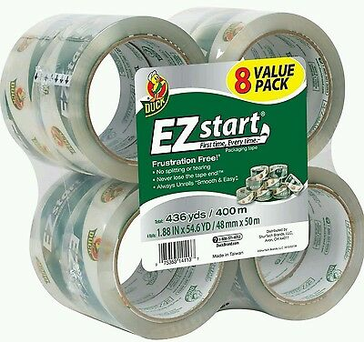 Duck Ez Start Quiet Packing Tape 1.88 In X 54.6 Yards Per Roll 8 Pack