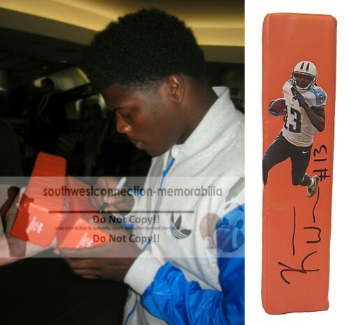 Kendall Wright Tennessee Titans Signed TD Football Pylon Proof of Autograph COA