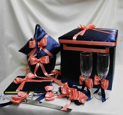 Navy Blue Coral Flower Girl Basket Ring Bearer Pillow Card Box Guest Book Cake Basket Pillow Guest Book Box