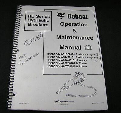 Bobcat Hb Series Hydraulic Breakers Operation Maintenance Manual Book Catalog