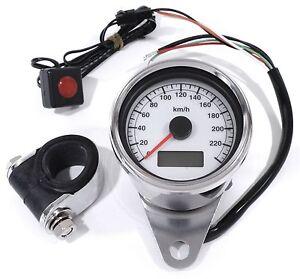 Minitacho Tachometer elektronisch weiß 60mm für HD Harley Davidson 1995 -2015