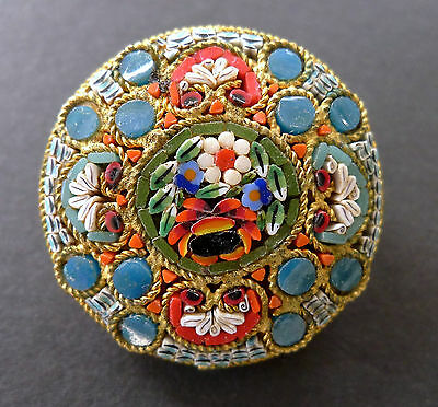 Vintage Victorian Micro Mosaic Flower Floral Brooch Pin Italian Italy Antique