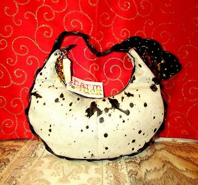 NWT CHARM AND LUCK WHITE/BLK SPOTTED PONY HAIR LEATHER STUDDED HOBO BAG $360.00