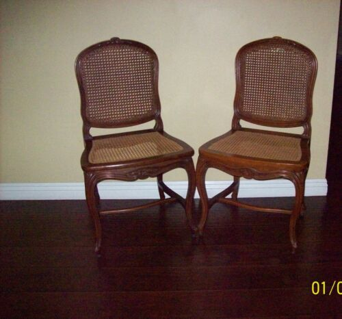 Antique Pair 18th C. French Louis XV Cabriolet Carved Cane Chairs
